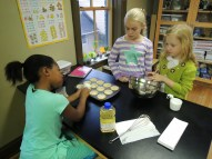 Baking muffins is a great way to build collaborative skills as well as learn how modifying physical properties (i.e., mixing ingredients, adding heat) produces food!