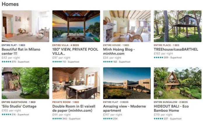 """""""sale phòng"""" trên các trang lớn nhứ Airbnb.com , booking.com…."""