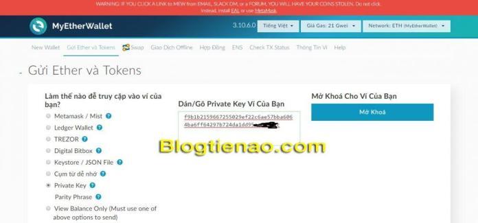 Cách đăng nhập vào ví MyEtherWallet bằng Private Key
