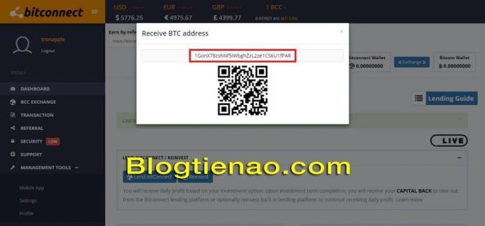 Nạp BTC vào Bitconnect. Ảnh 2