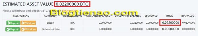 Nạp BTC vào Bitconnect. Ảnh 3