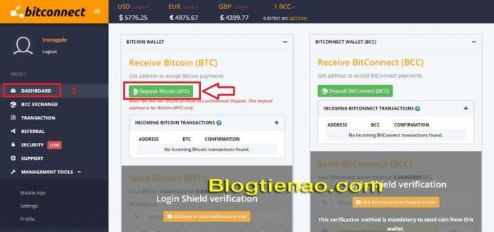 Nạp BTC vào Bitconnect. Ảnh 1