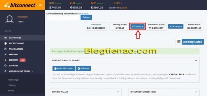 Rút lãi Bitconnect. Ảnh 1