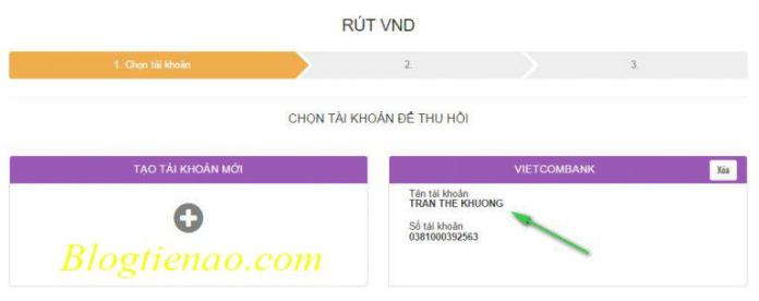 Rút tiền về Vietcombank