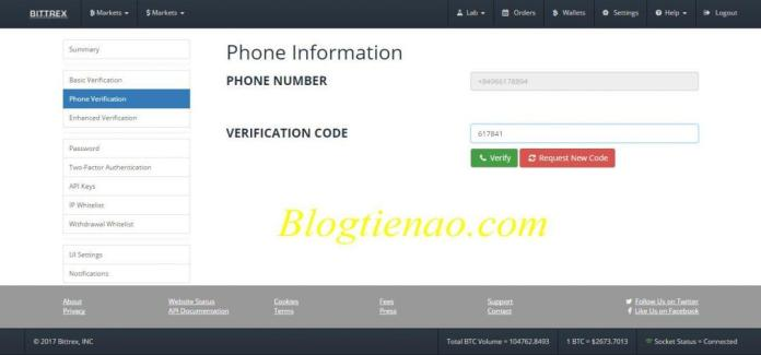 Verify số điện thoại trên Bittrex