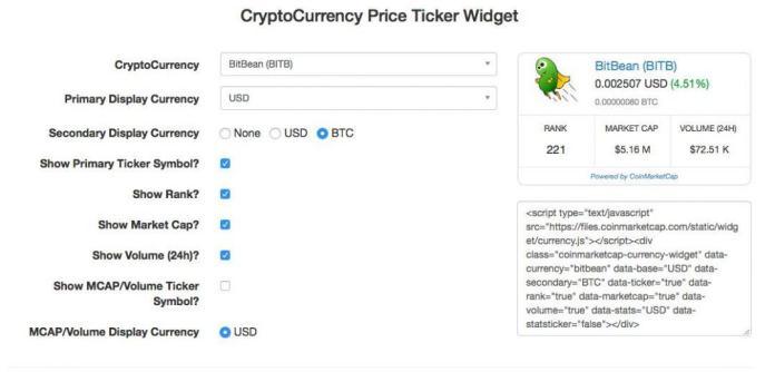 Tiện ích biểu đồ giá coin để nhúng vào website của bạn