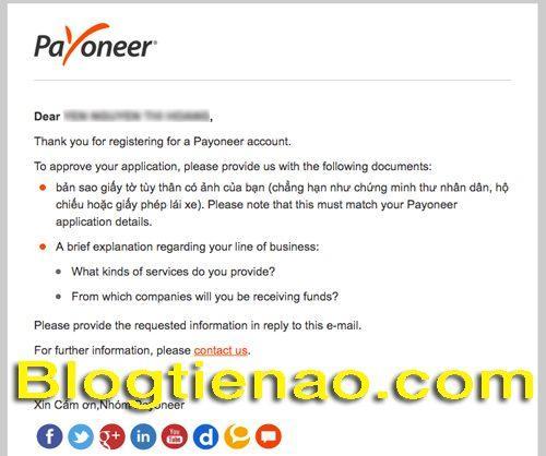 Xác thực thông tin đăng ký Payoneer. Ảnh 5