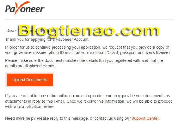 Xác thực thông tin đăng ký Payoneer. Ảnh 1