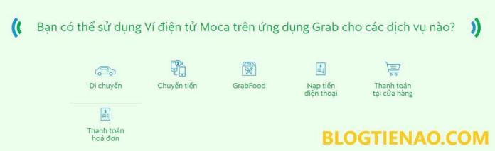 Dịch vụ sử dụng trên GrabPay by Moca