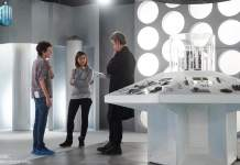 Rachel Talalay, Peter Capaldi and Jenna Coleman - On set Doctor Who series 9 (c) BBC