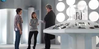 Rachel Talalay, Peter Capaldi and Jenna Coleman - On set Doctor Who series 9 (c) BBC