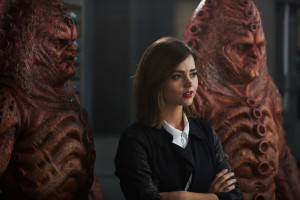 Doctor Who - TX: 07/11/2015 - Episode: INVERSION OF THE ZYGONS (By Peter Harness and Steven Moffat) (No. 8) - Picture Shows: Zygons, Clara (JENNA COLEMAN) - (C) BBC - Photographer: Simon Ridgway