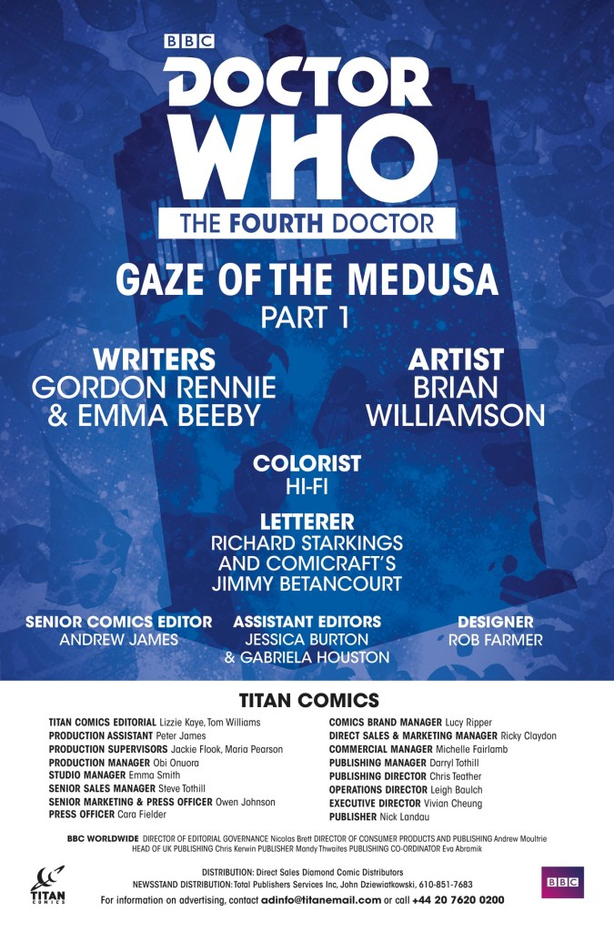 DOCTOR WHO: THE FOURTH DOCTOR #1 - Credits (c) Titan Comics