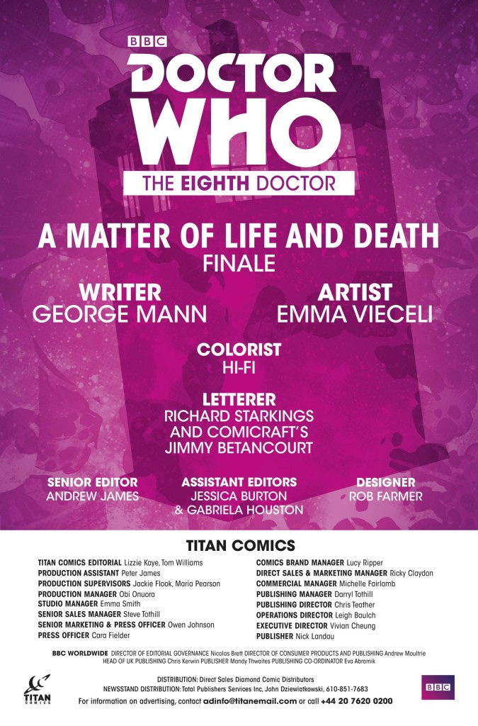 DOCTOR WHO: THE EIGHTH DOCTOR #5 - Credits (c) Titan Comics