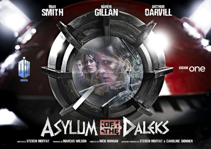Doctor Who - Asylum of the Daleks. Poster iconic image created by Lee Binding Rory Williams (ARTHUR DARVILL), Amy Pond (KAREN GILLAN), The Doctor (MATT SMITH) - (C) BBC - Photographer: Todd Antony