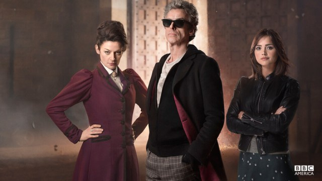 Missy (Michele Gomez), The Doctor (Peter Capaldi) & Clara Oswald (Jenna Coleman) - Doctor Who - The Magician's Apprentice (c) BBC