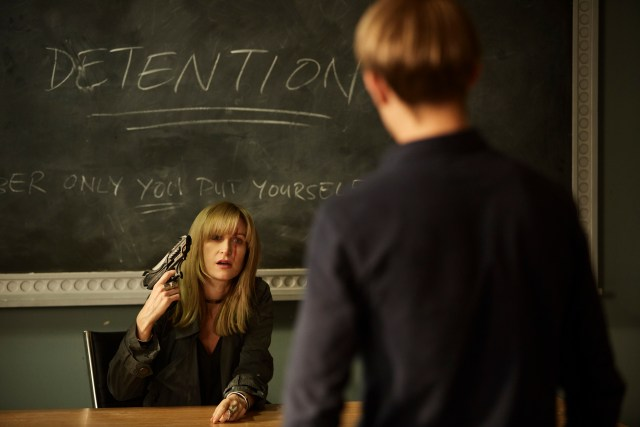 Class - Ep6 (No. 6) - Picture Shows: Miss Quill (KATHERINE KELLY), Charlie (GREG AUSTIN) - (C) BBC - Photographer: Simon Ridgeway