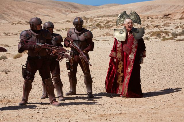 Doctor Who   - TX: 05/12/2015 - Episode: HELL BENT (By Steven Moffat) (No. 12) - Picture Shows:  guards, The President (DONALD SUMPTER) - (C) BBC   - Photographer: Simon Ridgway