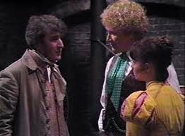 Sixth Doctor (Colin Baker), Peri (Nicola Bryant) and George Stephenson (Gawn Grainger) - Doctor Who The Mark of the Rani (c) BBC