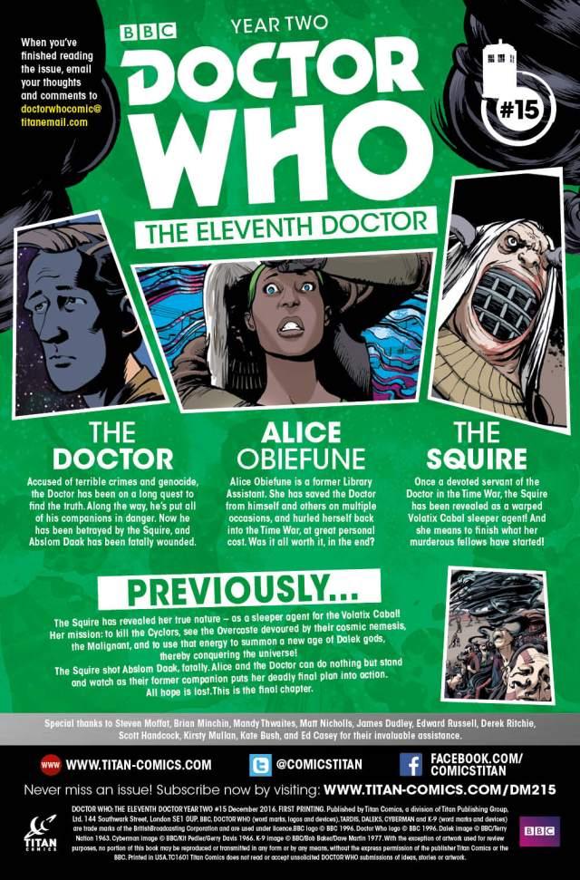 TITAN COMICS - ELEVENTH DOCTOR #2.15 CREDITS