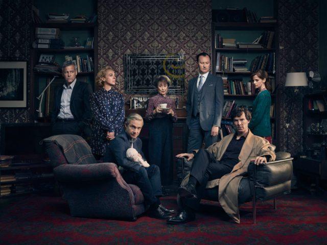 Sherlock - TX: 01/01/2017 - Episode: Sherlock S4 - Generic (No. 1) - Picture Shows: (L-R) Detective Inspector Lestrade (RUPERT GRAVES), Mary Watson (AMANDA ABBINGTON), Dr John Watson (MARTIN FREEMAN), Mrs Hudson (UNA STUBBS), Mycroft Holmes (MARK GATISS), Sherlock Holmes (BENEDICT CUMBERBATCH), Molly Hooper (LOUISE BREALEY) - (C) Hartswood Films - Photographer: Todd Antony