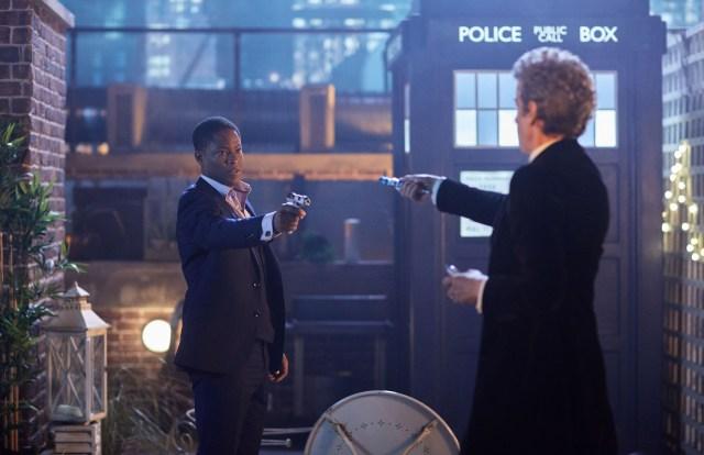Doctor Who Xmas Special 2016 - Adetomiwa Edun as Mr. Block and Peter Capaldi as the Doctor - BBC - Photo: Simon Ridgway