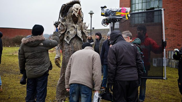 Neil Fingleton as the Fischer King - Behind the Scenes - Doctor Who Series 9 - Before the Flood c) BBC
