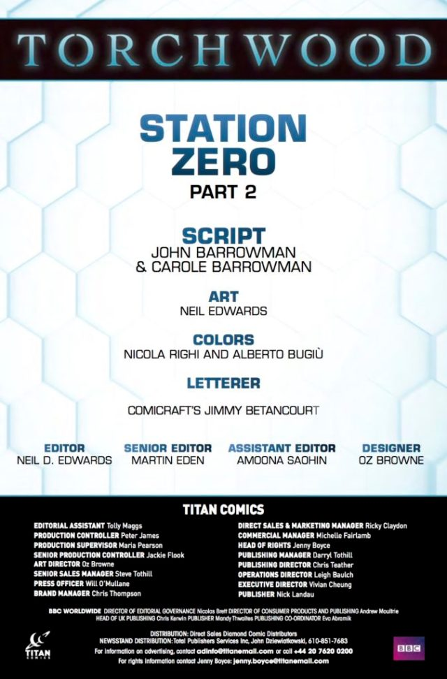 TORCHWOOD: STATION ZERO #2 - CREDITS
