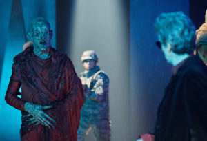 Doctor Who S10 - The Pyramid At The end Of The World (No. 7) - Picture Shows: Soldiers, Monk, The Doctor (PETER CAPALDI) - (C) BBC/BBC Worldwide - Photographer: Simon Ridgway