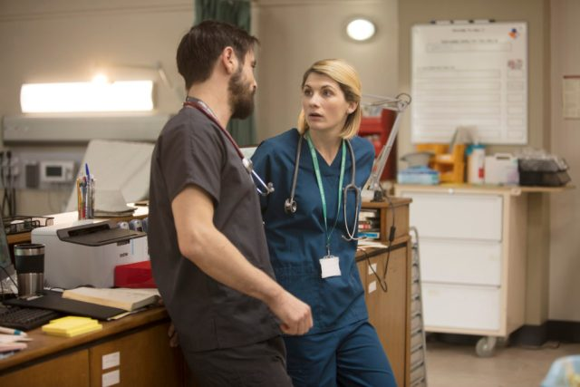Trust Me - Ep2 (No. 2) - Picture Shows: Dr Andy Brenner (EMUN ELLIOTT), Ally (JODIE WHITTAKER) - (C) Red Productions - Photographer: Mark Mainz