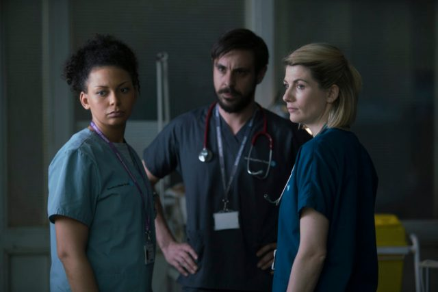 Trust Me - Ep4 (No. 4) - Picture Shows: Karen (LOIS CHIMIMBA), Dr Andy Brenner (EMUN ELLIOTT), Ally (JODIE WHITTAKER) - (C) Red Productions - Photographer: Mark Mainz