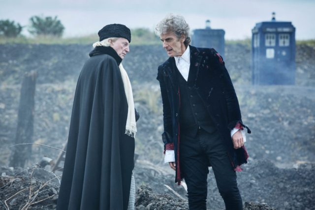 The First Doctor (DAVID BRADLEY), The Doctor (PETER CAPALDI) - (C) BBC/BBC Worldwide - Photographer: Simon Ridgway