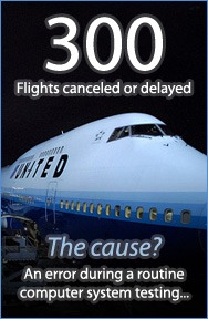 300 United Airlines flights canceled or delayed