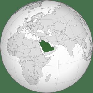 Projection orthographique de la localisation de l'Arabie Saoudite, au Moyen-Orient.