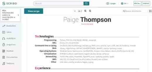 CV de Paige Adele Thompson sur Scribd