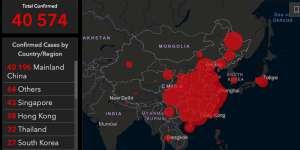 Carte du coronavirus de Wuhan, en février 2020