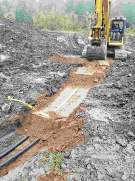 Several trenches are dug for the lift's main supply ducts.