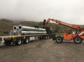 Delivery of tower sections.