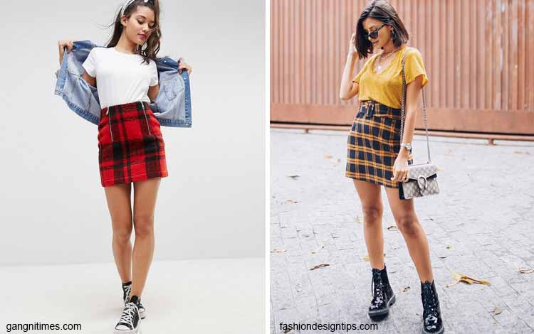 Tampil Fashionable Dengan Rok Mini - Mini tartan-plaid skirt