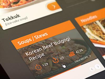 UI pour les recettes de cuisine