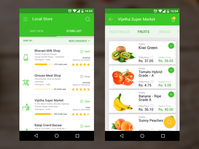 grocery app - 5 inspiration UI - Shop mobile