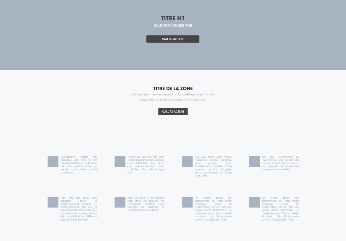 Wireframe d'un site internet