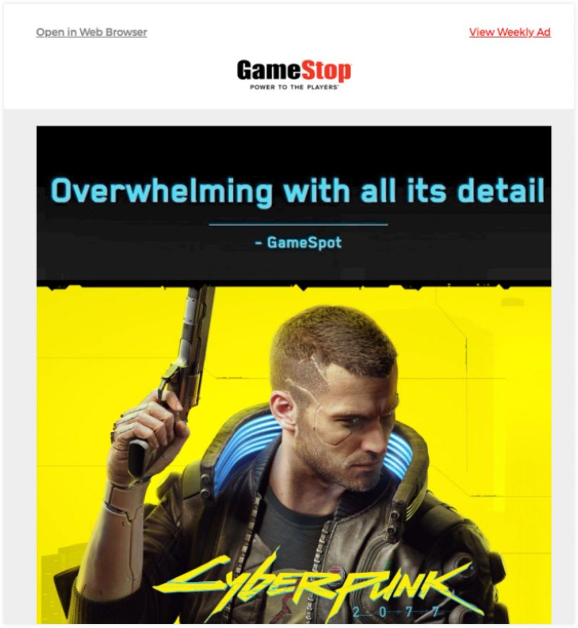 GameStop Email Example | ClickFunnels