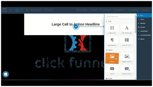 Screenshot of the rag and drop funnel builder