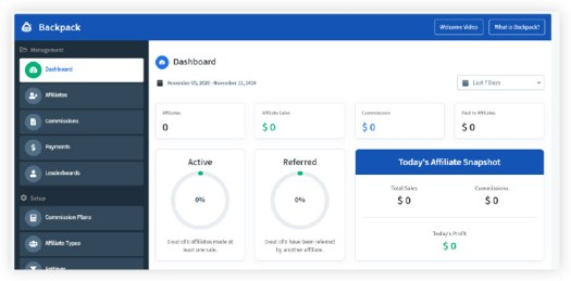 Clickfunnels affiliate tracking and payout dashboard.