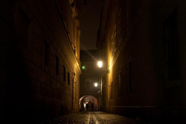 Magic light on old street