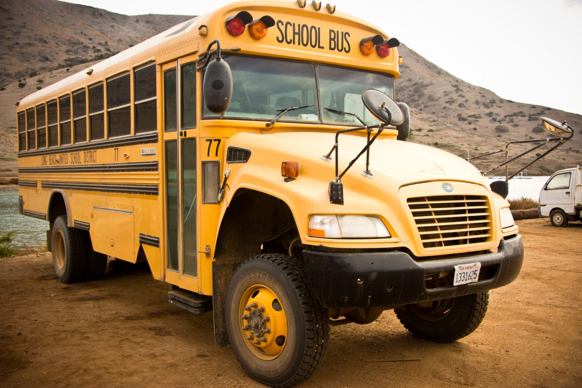 A school bus at Two Harbors