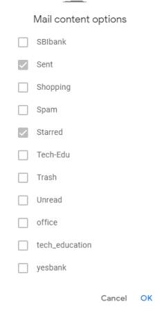 Select mail folders to takeout backup