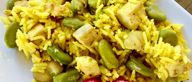Kurczak z ryżem i bobem na maśle