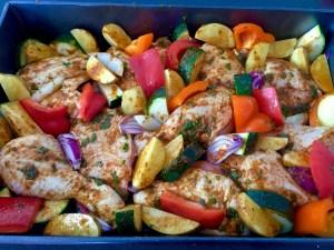 Kurczak zmieszany z warzywami